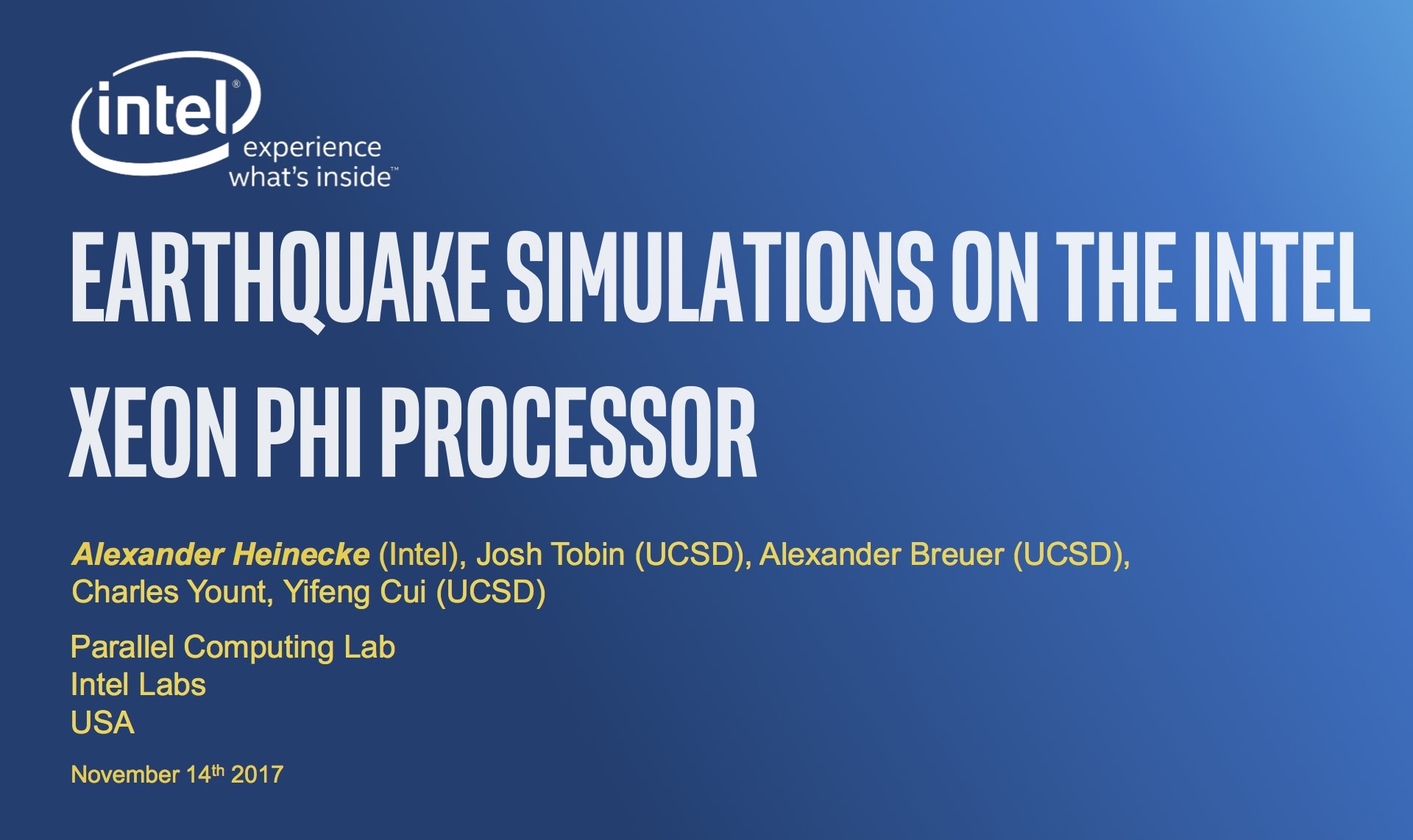 """Slides of presentation """"Earthquake Simulations on the Intel Xeon Phi Processor"""" at the SC17 conference"""